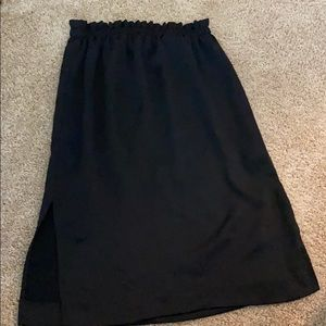 Black High waist Midi Skirt with side slits
